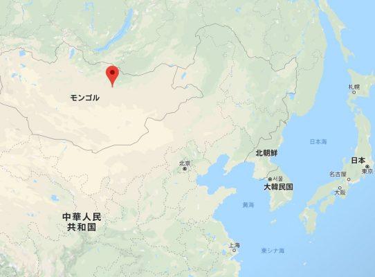 モンゴルのウランバートルと日本との位置関係